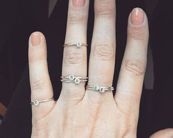 Silver Initial Ring, Personalised Ring, Letter Ring, Stacking Ring, Initial Ring, Stamped Letter Ring, Personalised Present, Dainty Rings