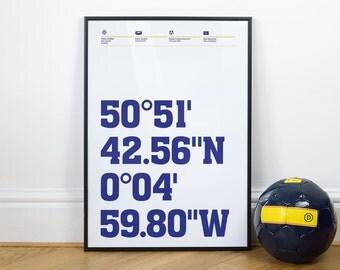 Brighton Hove Albion Football Stadium Coordinates Posters