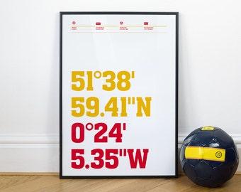 Watford Football Stadium Coordinates Posters