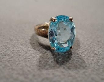 Vintage Sterling Silver Band Ring Oval Blue Topaz Prong Set Design, Size 8
