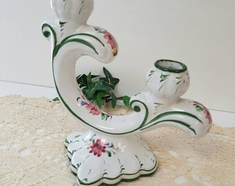 Hand Painted Portugal Candle holder Floral Chic - Candelabra
