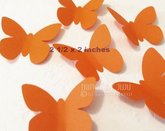 Orange Butterfly, 30 Large Orange Butterfly Punch, Die Cut Monarch Butterfly, Orange Butterfly Party Decor  (2 1/2 x 2 inches)