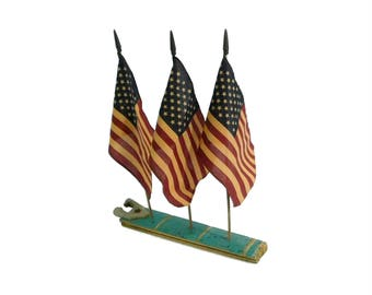 American Flag Display on Base from Antique Wooden Bucket, Old Glory, Americana