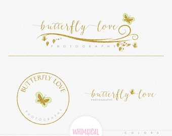 Pretty Butterfly- Premade Photography Logo and Watermark, Classic Elegant Script Font GOLD GLITTER butterfly children Calligraphy Logo