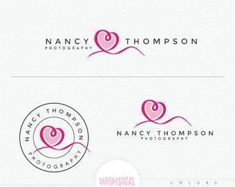 minimal ribbon heart Logo Design - simple branding kit, wedding photography branding, handmade boutique branding logo heart love