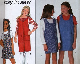 Girl's Jumper, Romper & Top pattern, Easy to Sew, Simplicity 8116, Sizes 7 to 14 or 8-1/2 to 16-1/2, plus sizes