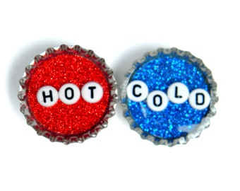 NEW Bottle Cap Magnets - Hot and Cold - Magnet Set of 2