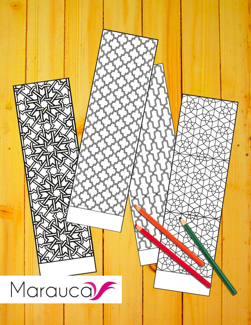 4 bookmarks coloring pages printable moroccan mosaic islamic