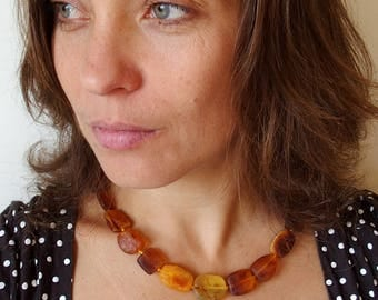 48cm 19'' Genuine Baltic AMBER NECKLACE. 100% Natural Therapeutic Large stones. Adult size