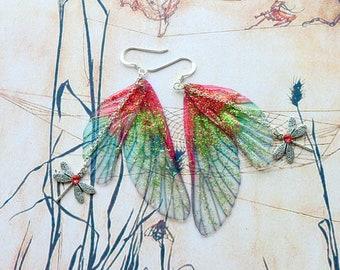 Fairy Wing Earrings, Fairy Earrings, Faerie Earrings, Red and Green Earrings, Hand Painted, Dragonfly Earrings, Boho, Hippy, Woodland