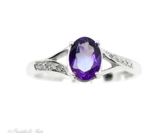 Sterling Silver Genuine Oval Amethyst & Diamond Ring