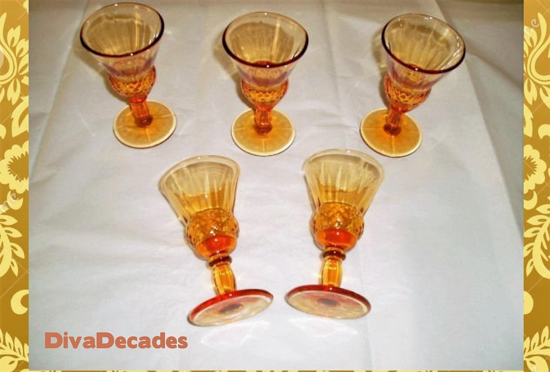 vintage barware vintage set of orange glasses by divadecades