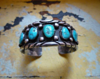 Vintage Navajo Sterling Silver Blue Royston Turquoise Row Cuff Bracelet