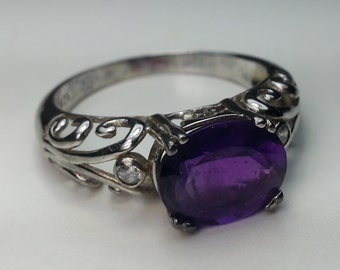 Natural Amethyst Sterling Silver Ring 2.23 ct. Oval Size 9
