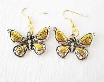 Butterfly Hope and Faith Earrings