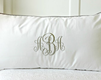 Pillow Shams Piped with Monogram/ Grey Taupe Welting Bed Pillow/ Personalized Pillow Sham