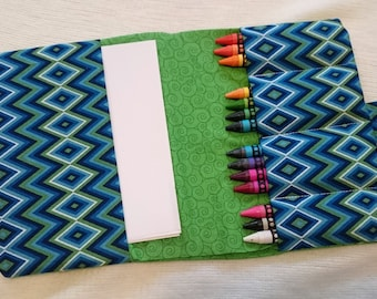 Crayon case. Kids travel set. Green Crayon Holder. On the go activity. Travel Crayon holder. Mini art set. Childrens gift. Gift for boys
