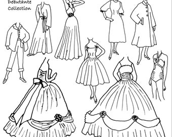 Debutante Collection Sewing Pattern with Bouffant Ball Gown for Fashion Dolls, Barbie - INSTANT DOWNLOAD PDF ePattern