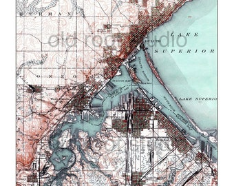 Hand Painted Map of Duluth, Minnesota and Superior, Wisconsin, 1895 / Vintage Duluth / Old Duluth Map / Superior Map / Lake Superior