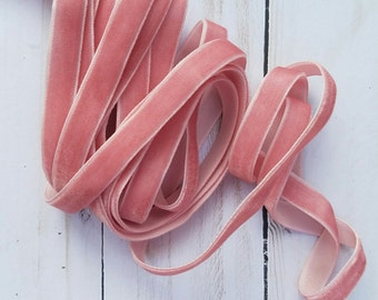 3/8 Dusty Rose Velvet NON ELASTIC Ribbon