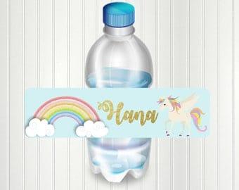 Unicorn Rainbow Water Bottle Label, Party, Unicorn, Rainbow Bottle Label, Unicorn Party. Birthday, Water Bottle Label, Shower