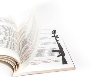 Bookmark Gun and Rose  // unique design bookmark // stylish unique present for a book lover // Free shipping // minimalistic