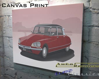 Citroen DS Series 3 CANVAS PRINT 12x8(A4) to 36x24(A1) Classic Cars Custom Personalised Premium Illustration French Goddess Hydro Pneumatic