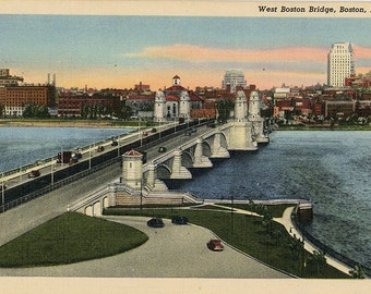 West Boston Bridge Charles River Massachusetts Postcard (unused)