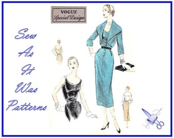 "1950s Unused Vogue 4420 Special Design Vintage Straight Sheath Dress Scoop Neckline Bolero Jacket Sewing Pattern Size 16 Bust 34"" 87cm"