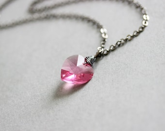 Pink Heart Necklace, Swarovski Heart, Crystal Pendant, Swarovski Crystal, Silver Heart Necklace, Gift for Girlgriend, Pink Heart Pendant