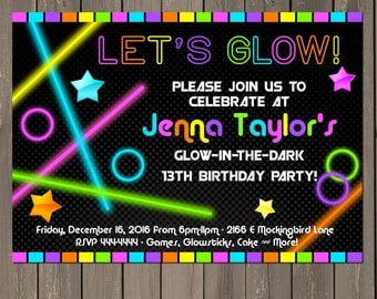 Glow in the Dark Party Invitation, Neon Birthday Party Invitation, Glow Party Invitation, Tween, Teen Party Invite,  Printable or Printed