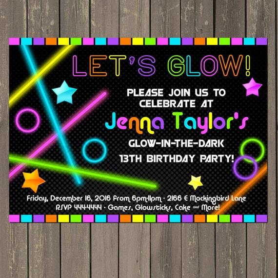 Glow in the Dark Party Invitation Neon Birthday Party Invitation