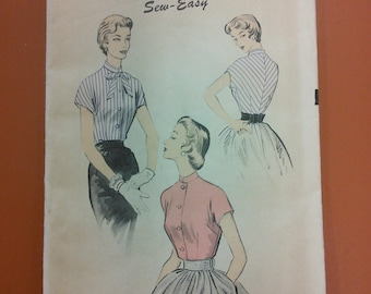 Advance 6669 Blouse Fitted Waist Top Sew Easy Vintage Pattern 1940s 40s Size 16