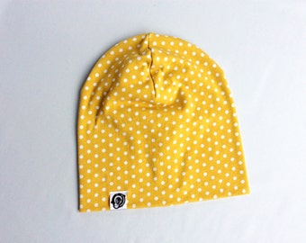 Beanie mustard fall white polka dots, size adult or child / Slouchy beanie, mustard, white polka dots, kids and adults