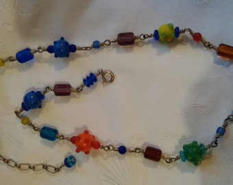 Sterling silver art glass bead necklace