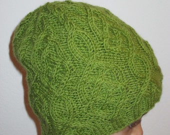 Cable Hand Knitted Beanie Hat, Pure Wool Hat, Gift Idea, Green Wool Hat, Adult Knitted Hat, Christmas Gift, Gift Under 30 USD