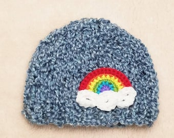 Rainbow Baby Hat | Baby Rainbow Hat / Rainbow Newborn Hat / Rainbow Baby Pregnancy Announcement Prop / Rainbow Baby Shower Gift