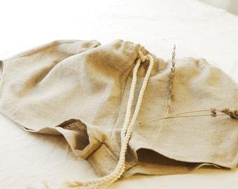 Organic French Linen Shorts with Drawstring ~  Women's Pants Pyjamas Pijama Ladies Sleepwear Loungewear Lingerie Pajamas natural