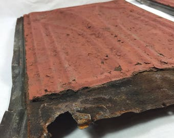 Tin Ceiling Roof Tiles with Red Paint Set of 2