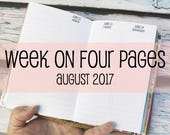 Traveler's Notebook POCKET Size Week on Four Pages {August 2017} #600-58