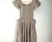 1950s Vintage Brown + White Gingham Pinafore Apron-Style Dress with Ruffled Shoulders