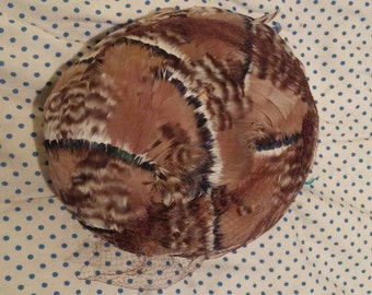 Vintage Lisa Exclusive Hat. New York. Mallard Feathers with netting. Shades of brown.