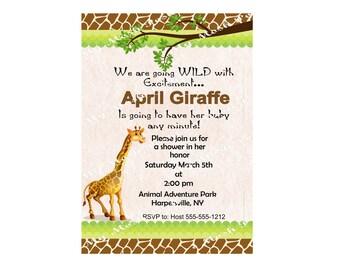 Giraffe Baby shower Invitation Digital File that you print