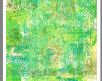 HAPPY GREEN PAINTED Digital Background 8x8 Master Board