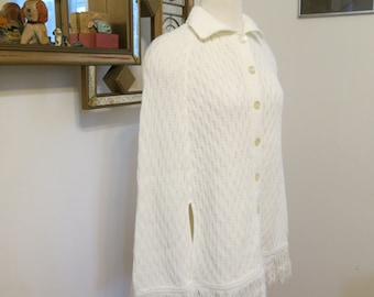 Vintage 1970s Fringe Poncho White Button up Cable Knit Sweater