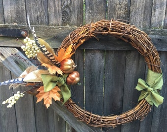 "18"" Harvest Wreath, Fall/Autumn Decor, Grapevine Wreath with Gourds, Leaves, Berries, Feathers. Farmhouse Wreath"