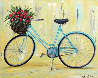 Blue Bicycle with Roses in Basket, Original bike painting on 11 x 14 gallery wrapped canvas