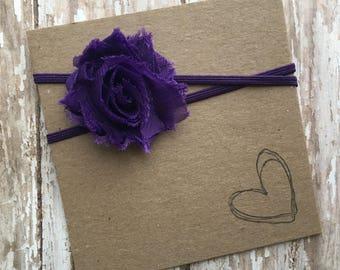Purple MINI Shabby Flower Headband
