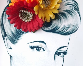 Pumpkin Patch Pin Up Hair Flower Vintage Autumn