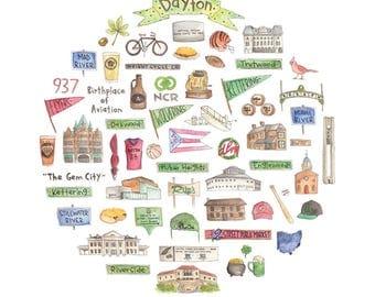 Dayton Icon Watercolor